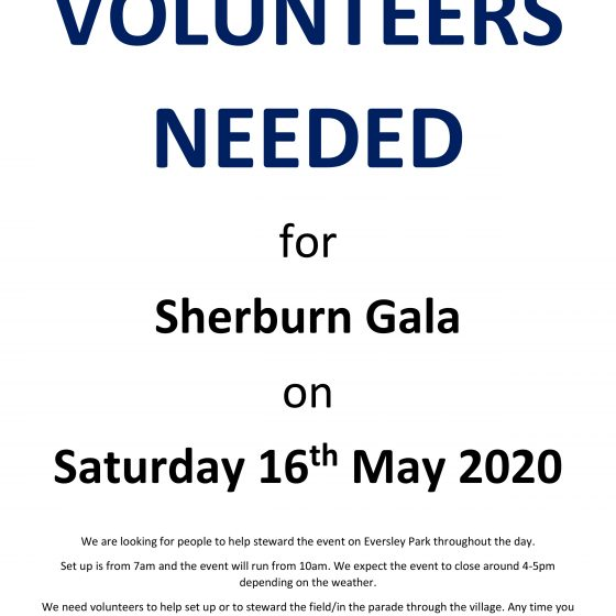 Volunteers Needed For Sherburn Gala – *Event Cancelled*