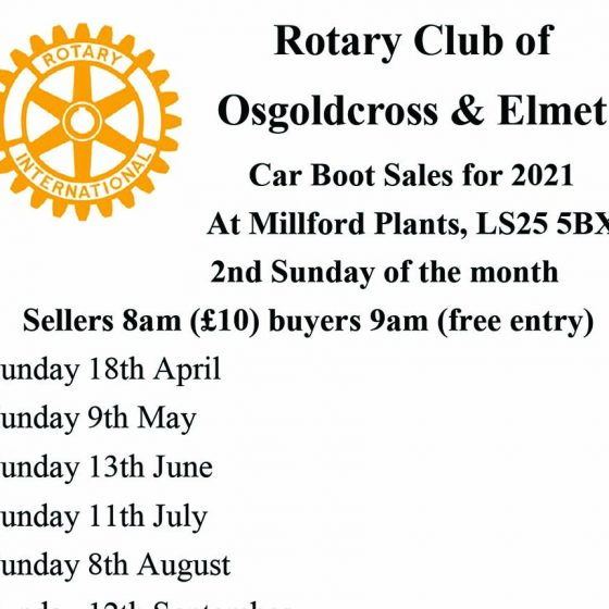 Osgoldcross & Elmet Rotary Car Boot Sale 11th July 2021